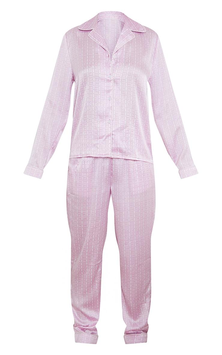 PRETTYLITTLETHING Pink Stripe Logo Satin Long PJ Set 5