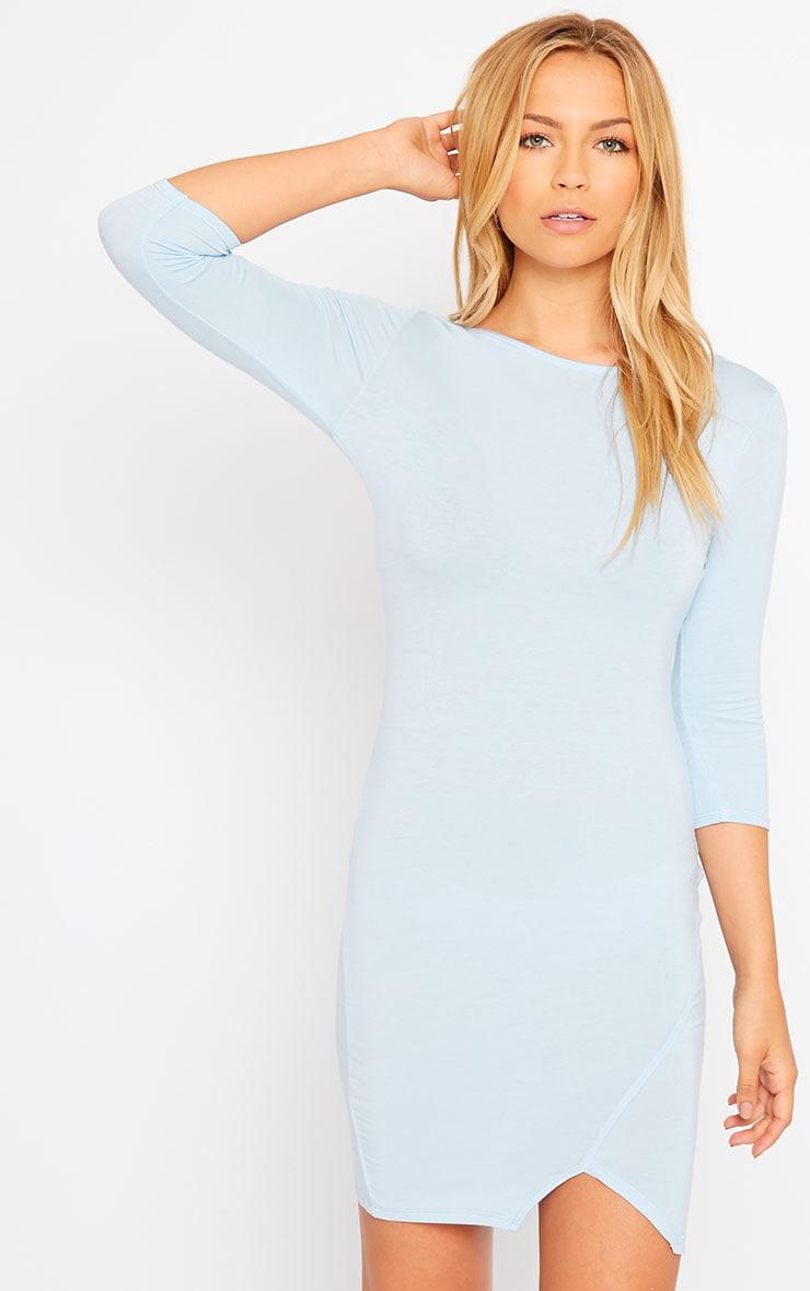Basic Powder Blue Scoop Back V Hem Dress 1