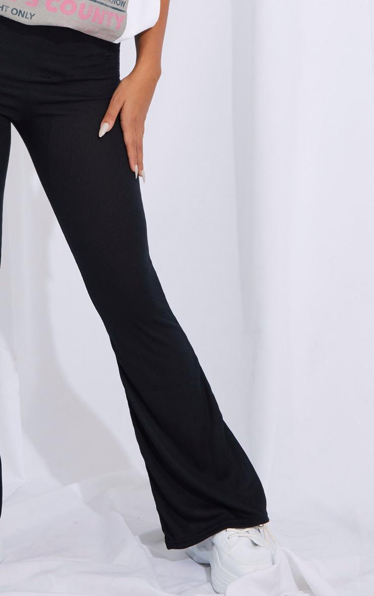 Petite Black Ribbed Flared Pants 4