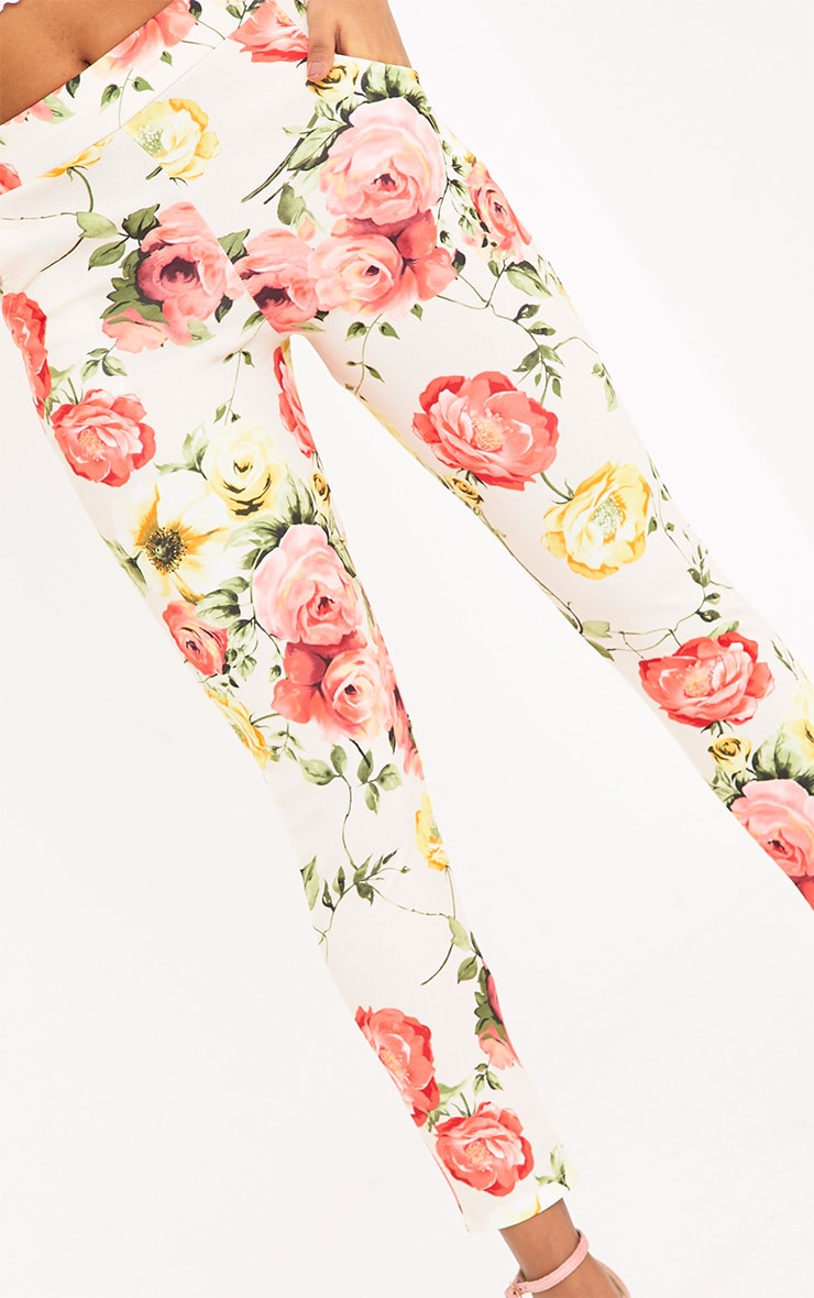 Sage Stone Floral Print Trousers 5