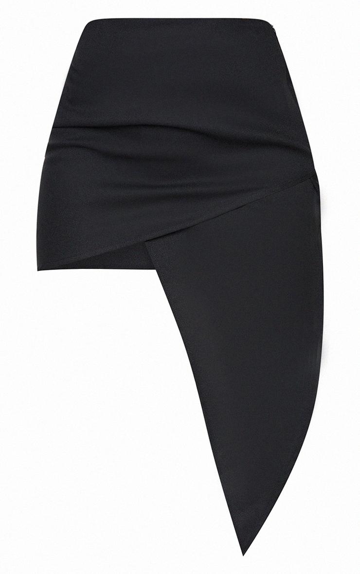 Black Woven Asymmetric Wrap Over Midi Skirt 5