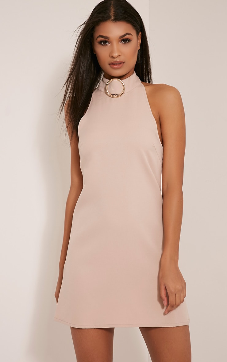 Hamza Nude Ring Detail Backless Shift Dress 1