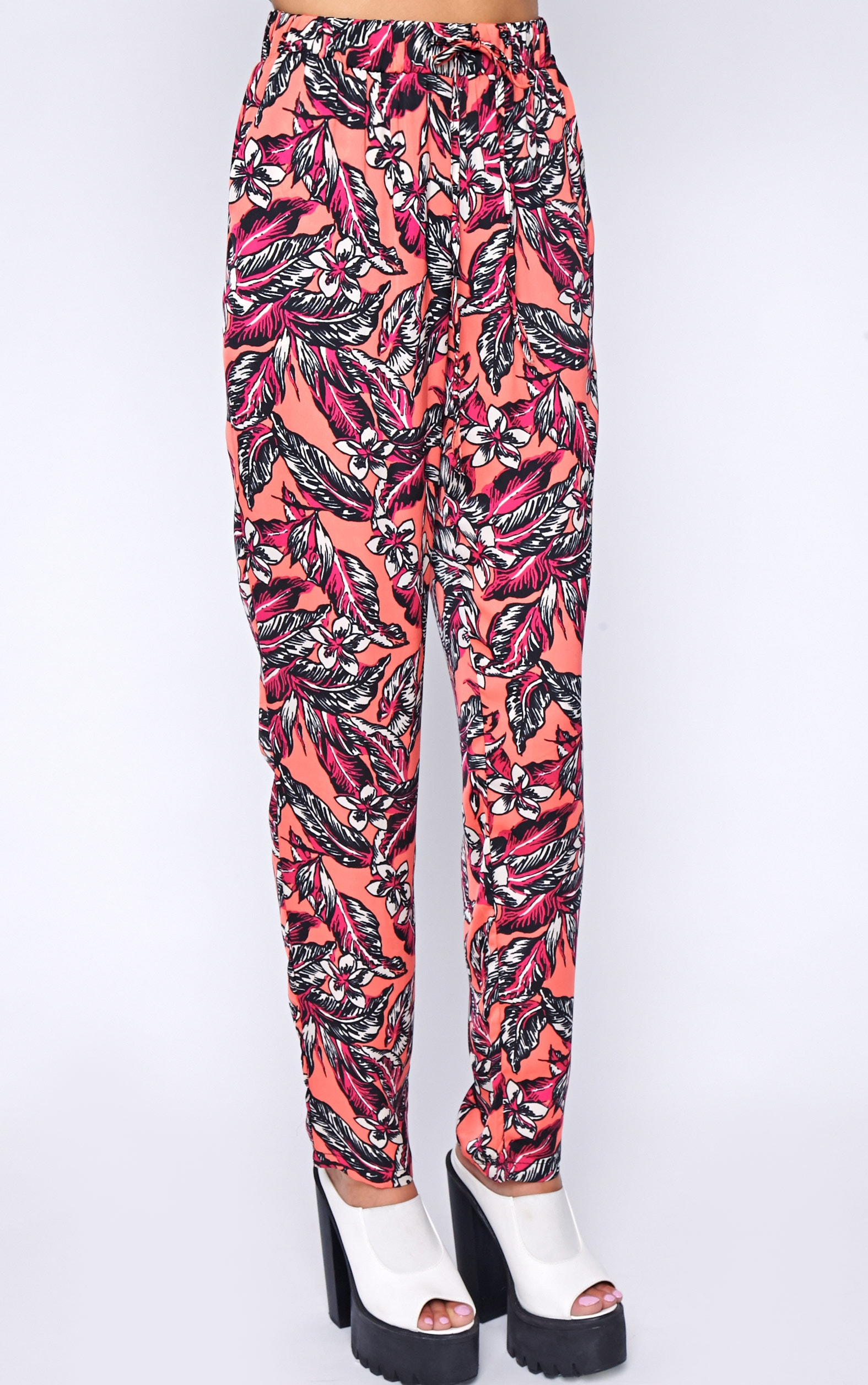 Annabelle Coral Floral Print Trouser 3