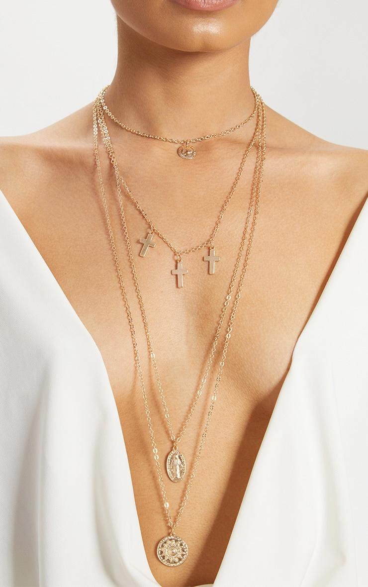 Gold Renaissance Cross Pendant Multi Layer Necklace 1