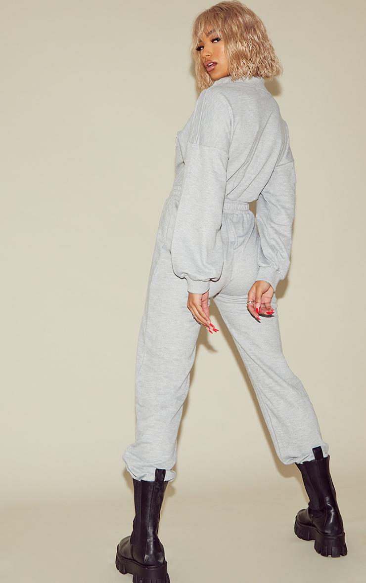 PRETTYLITTLETHING Grey Marl Binding Detail High Neck Sweat Jumpsuit 2