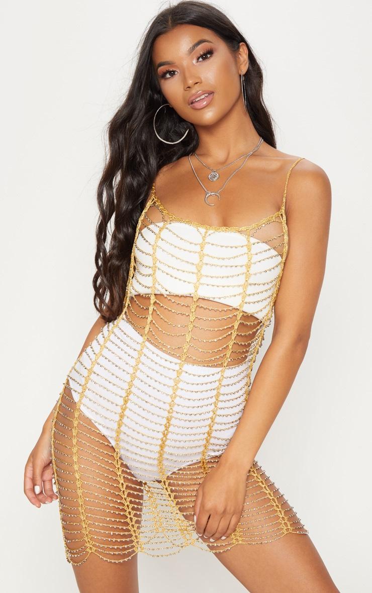 Gold Crochet Beaded Dress 4