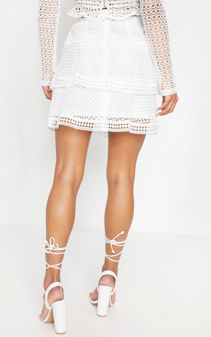 White Crochet Tiered Frill Mini Skirt 4