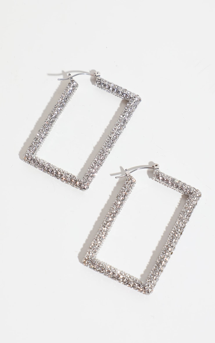 Silver Pave Medium Square Hoop Earring 4