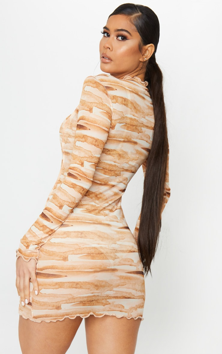Tan Tie Dye Mesh Frill Edge Detail Bodycon Dress 3