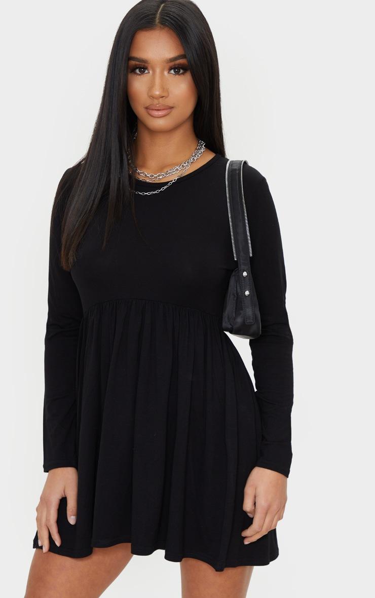 Petite Black Long Sleeve Smock Dress 3