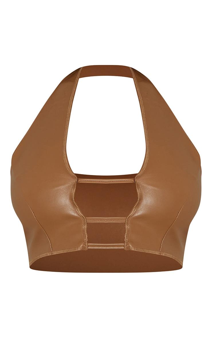 Camel Faux Leather Cut Out Front Halterneck Crop Top 5