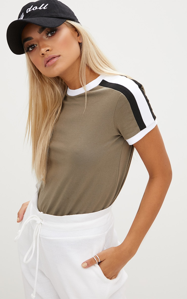 Khaki Triple Stripe Shoulder T Shirt  1