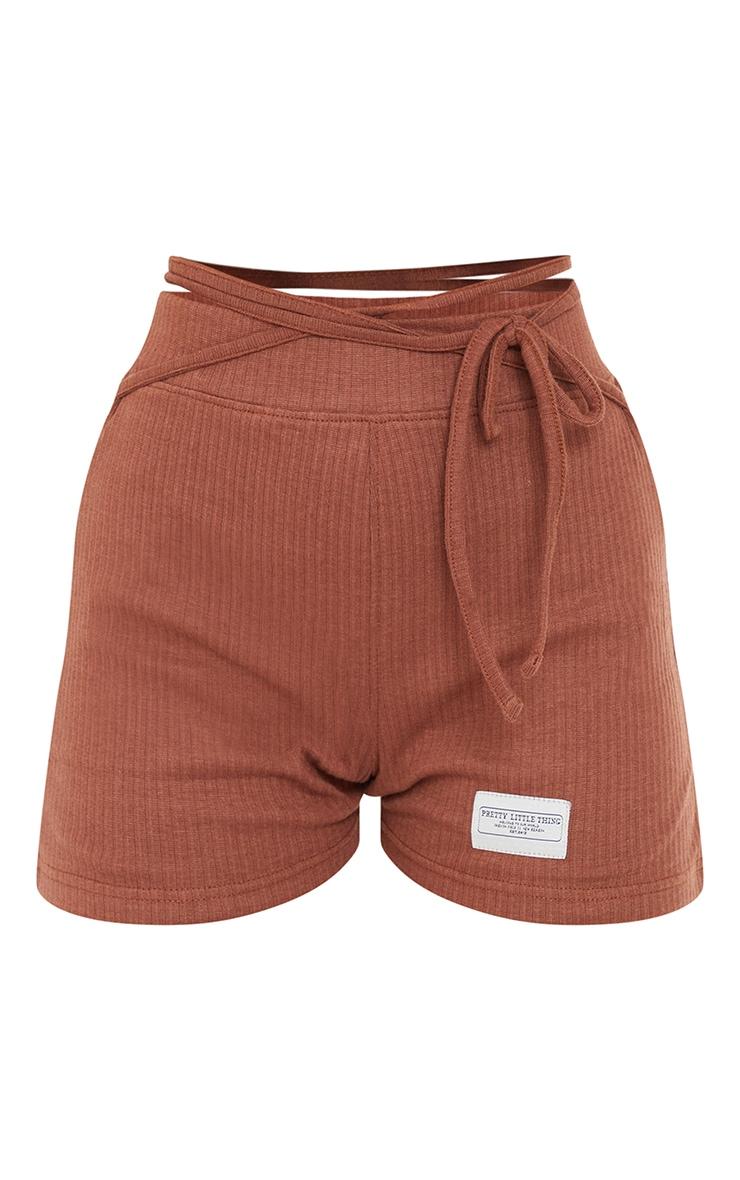 PRETTYLITTLETHING Chocolate Badge Rib Tie Waist Detail Hot Pants 6