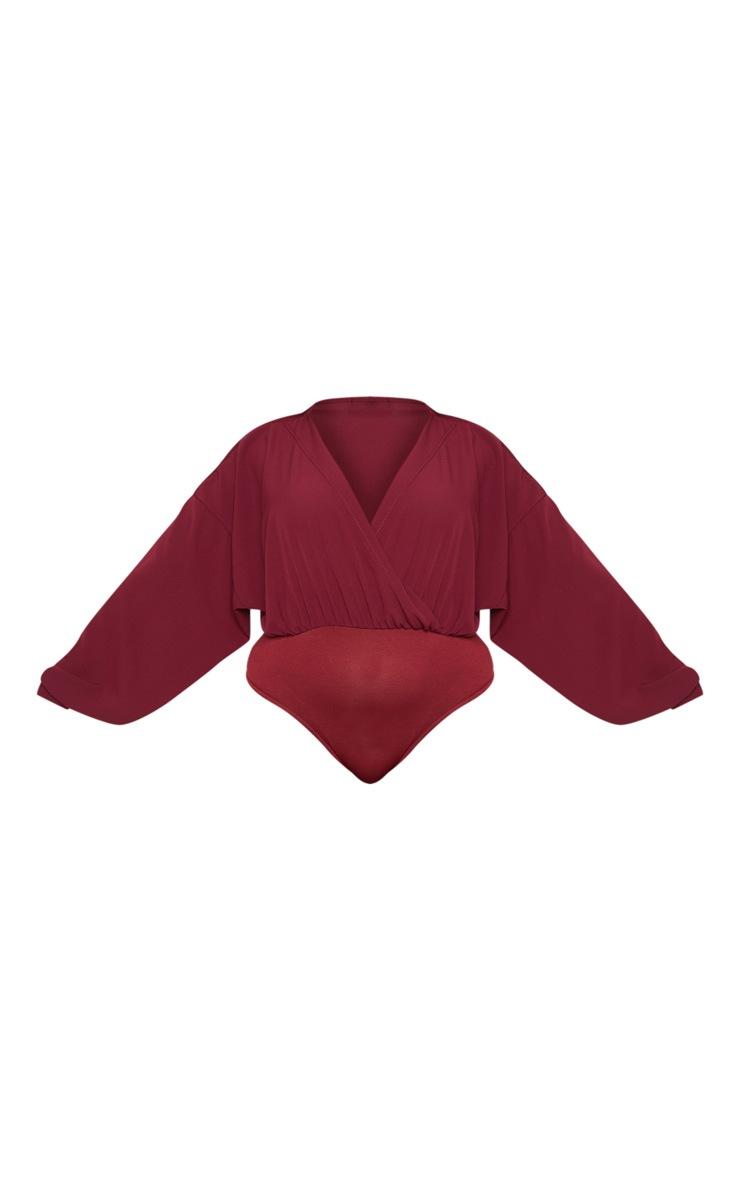 Plus Burgundy Crepe Plunge Bodysuit 3