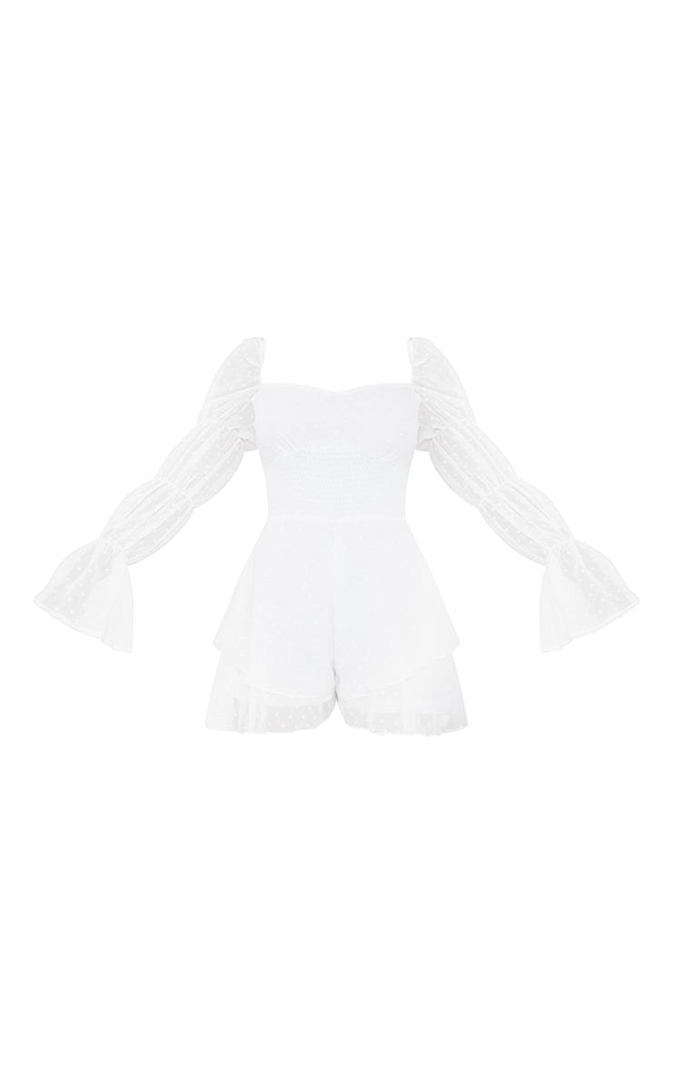 White Dobby Chiffon Frill Hem Long Sleeve Romper 5