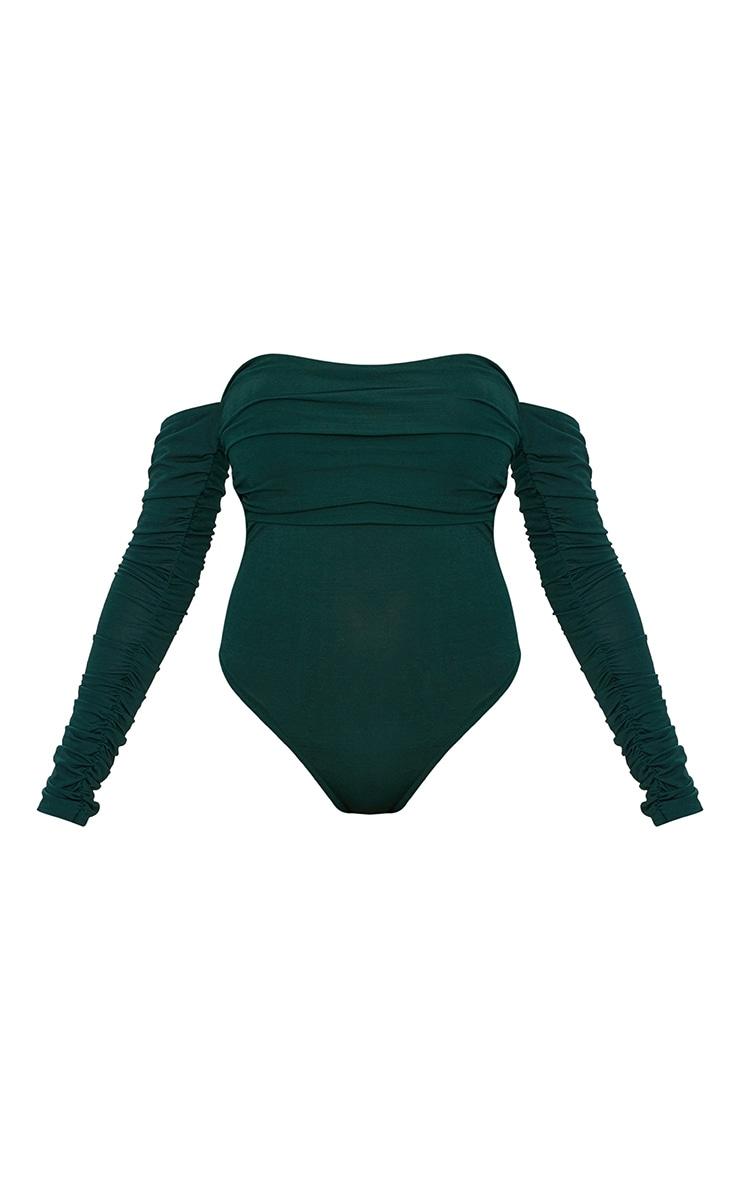 Emerald Green Bardot Ruched Sleeve Thong Bodysuit 3