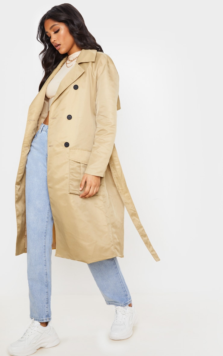 Stone Nylon Belted Trench 4