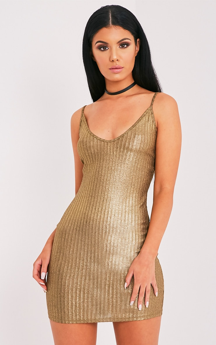 Abbygail Gold Metallic Ribbed Knitted Mini Dress 1