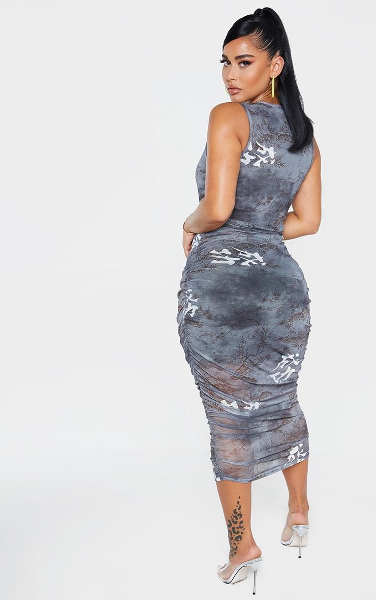 Shape Black Printed Sleeveless Midi Dress 2