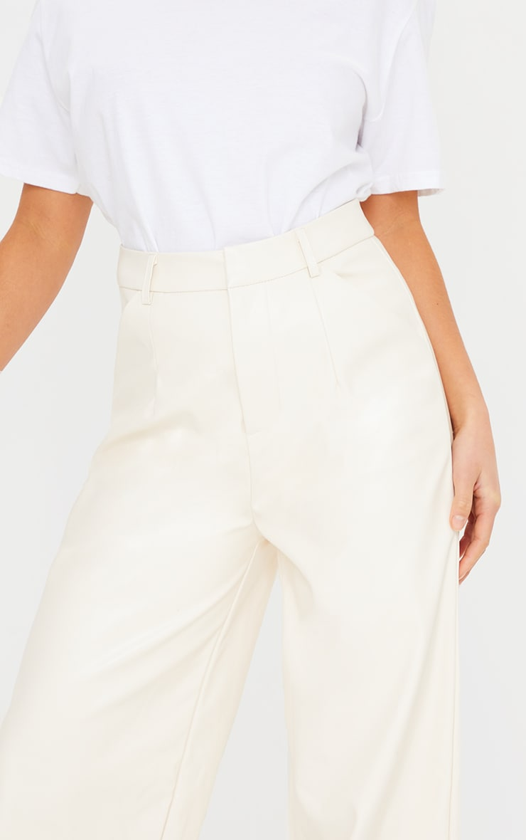 Petite Cream Faux Leather Wide Leg Pants 4