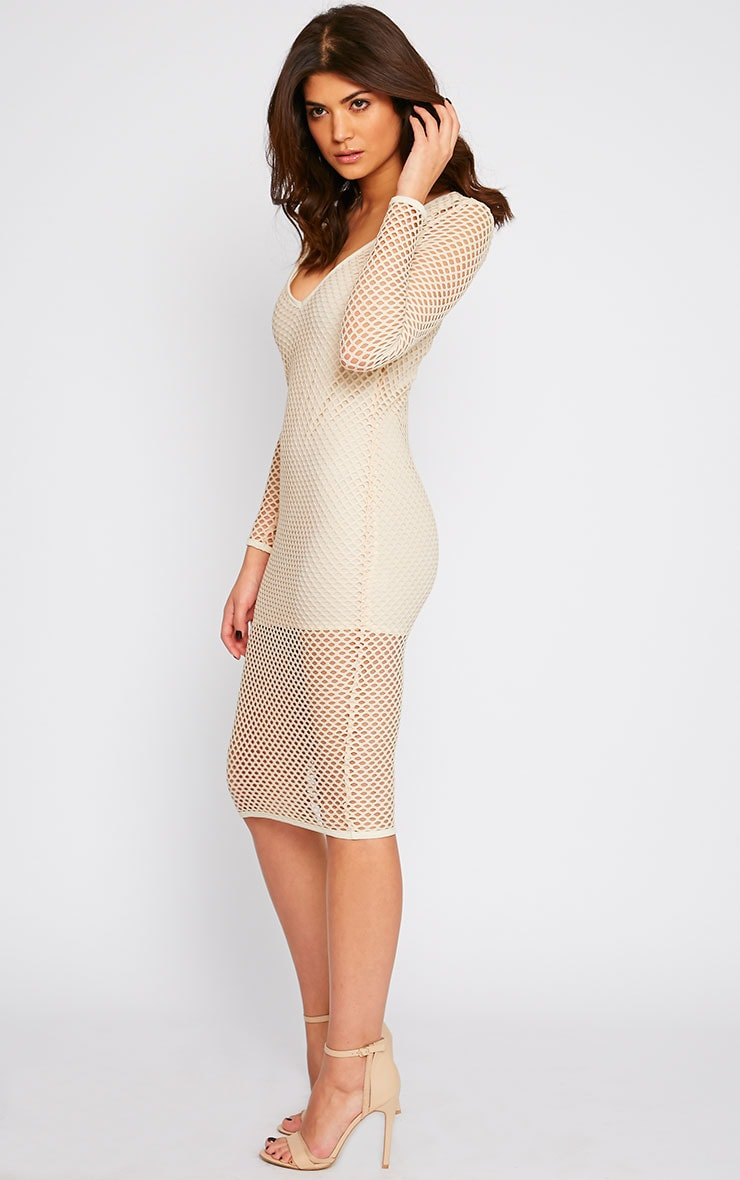 Karis Beige Netted Mesh Midi Dress 1