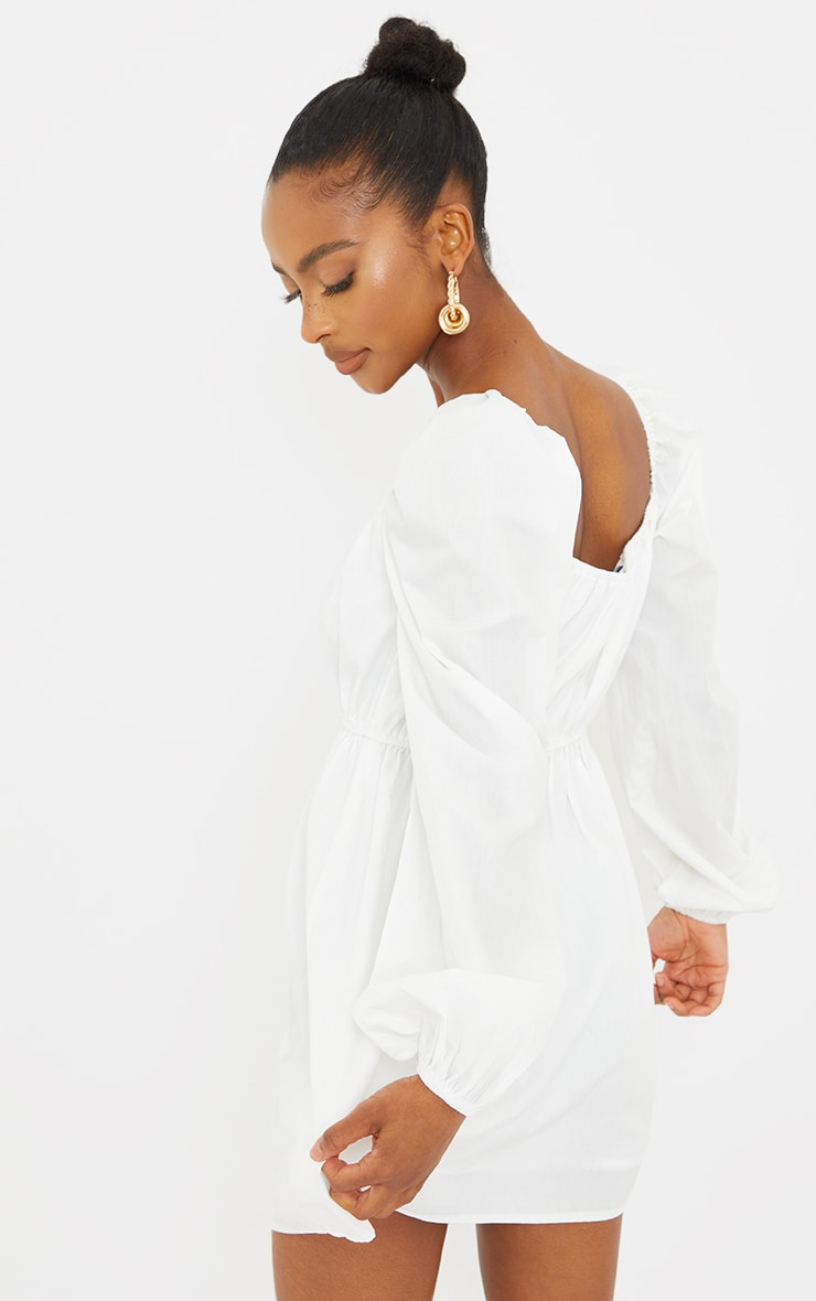 Petite White Ruched Balloon Sleeve Smock Dress 2