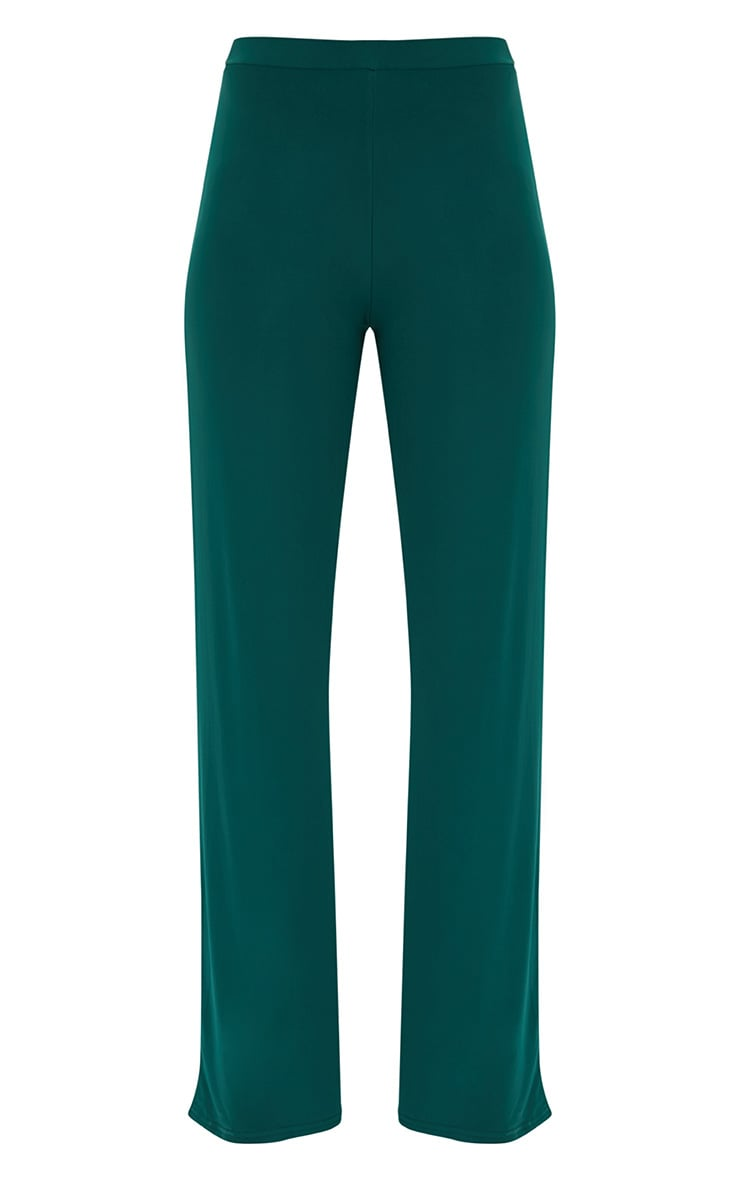 Forest Green Slinky Palazzo Trousers 3