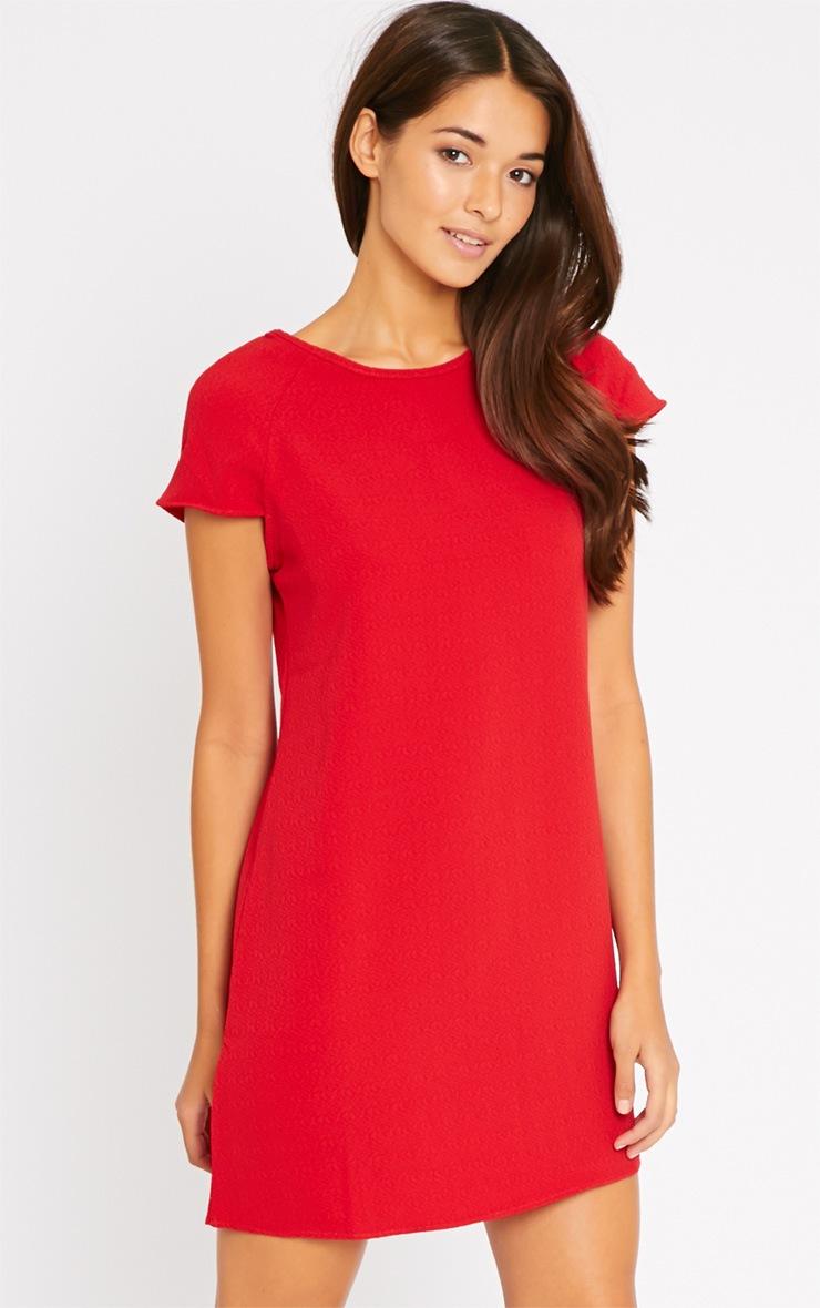 Sabra Red Waffle Dress 1