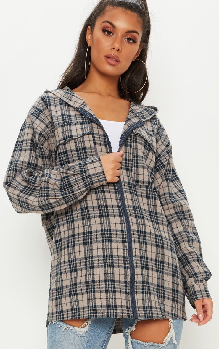 Stone Oversized Flannel Checked Shirt  1