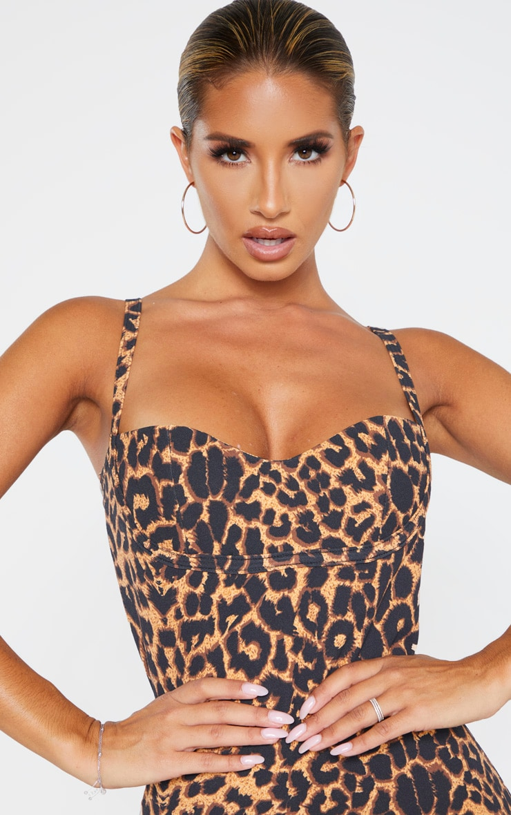 Leopard Print Strappy Cup Detail Bodycon Dress 5
