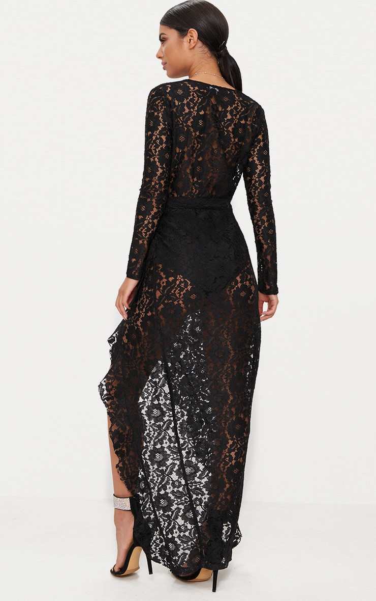 Black Lace Long Sleeve Wrap Front Maxi Dress