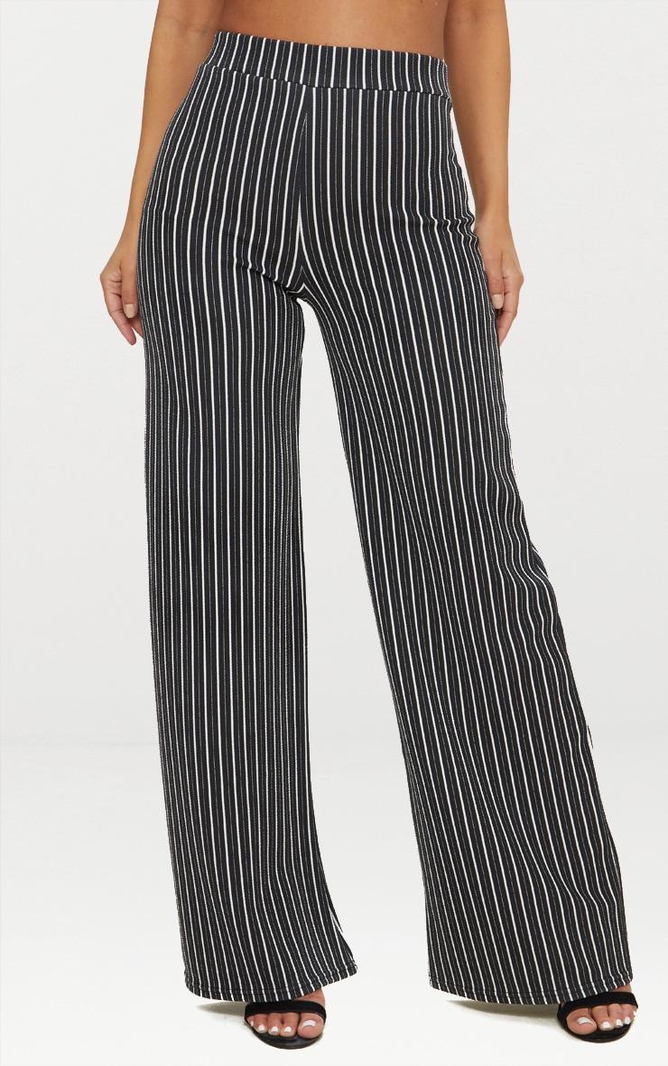 Petite pantalon ample noir à fines rayures  2