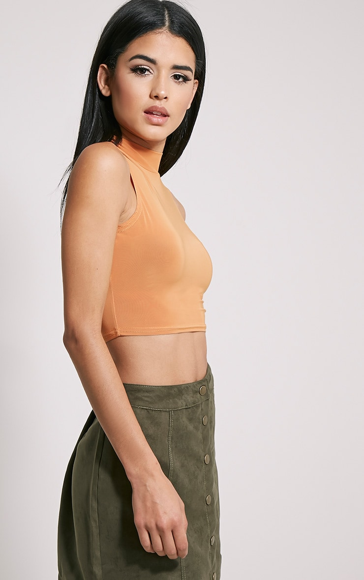 Saylor Rust Sleeveless Slinky Crop Top 4