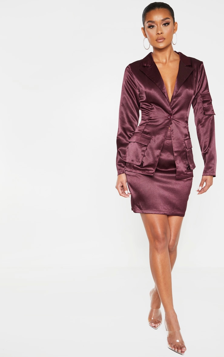 Plum Satin Pocket Fitted Blazer 4