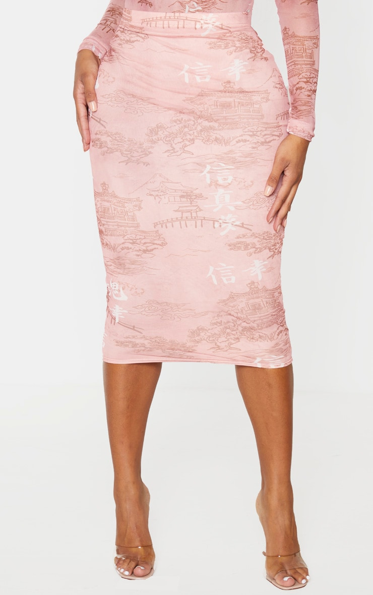 Shape Rose Oriental Printed Mesh Midi Skirt 2