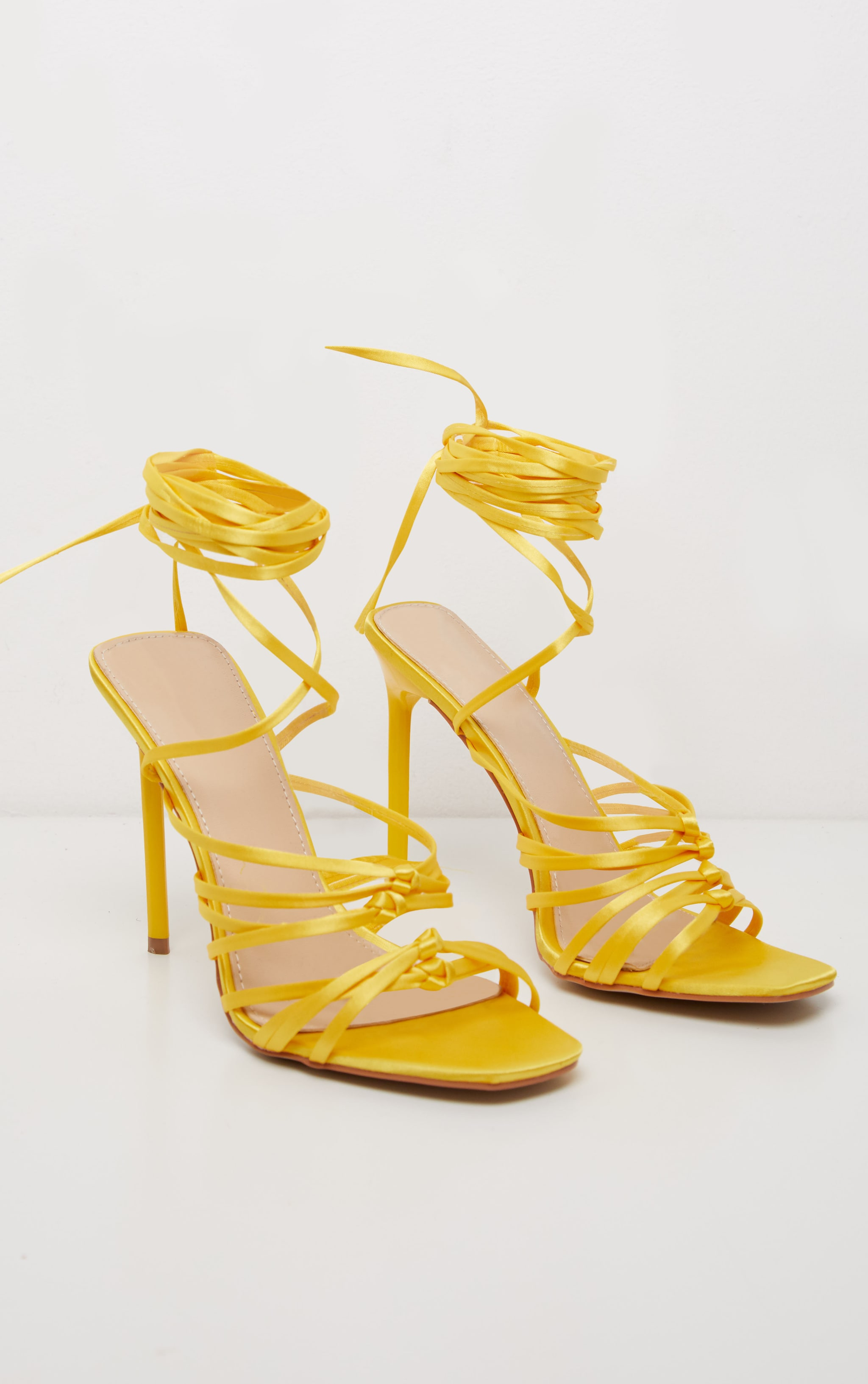 Neon Yellow Satin Strappy Lace Up Sandal  3