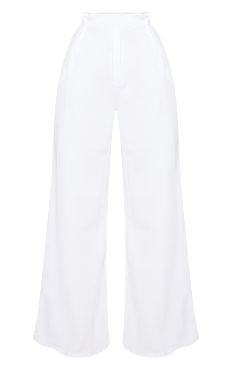White Contrast Stitch Paper Bag Wide Leg Trouser 3