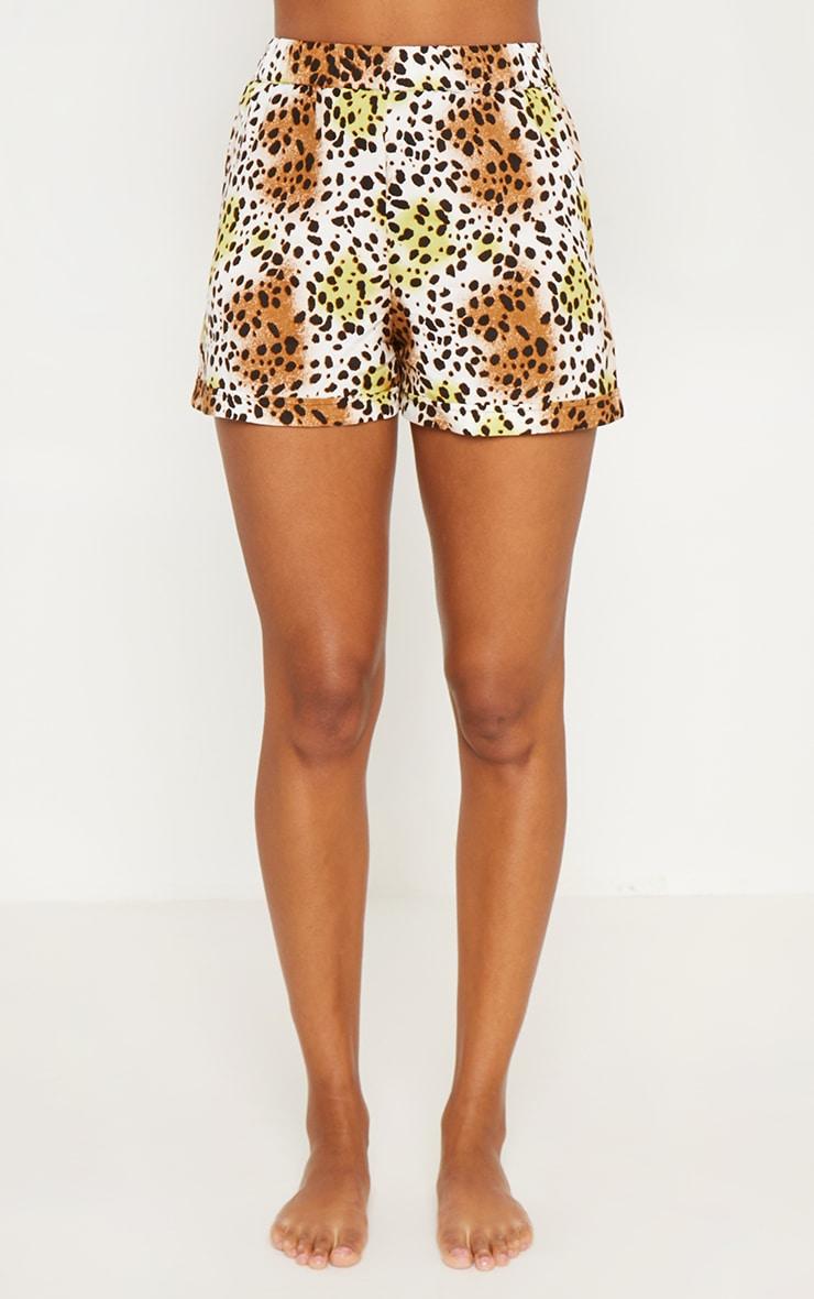 Tan Leopard Print Short Sleeve Button Up PJ Set 6