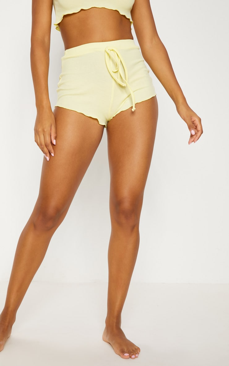 Lemon Ribbed Frill Edge Short PJ Set 5