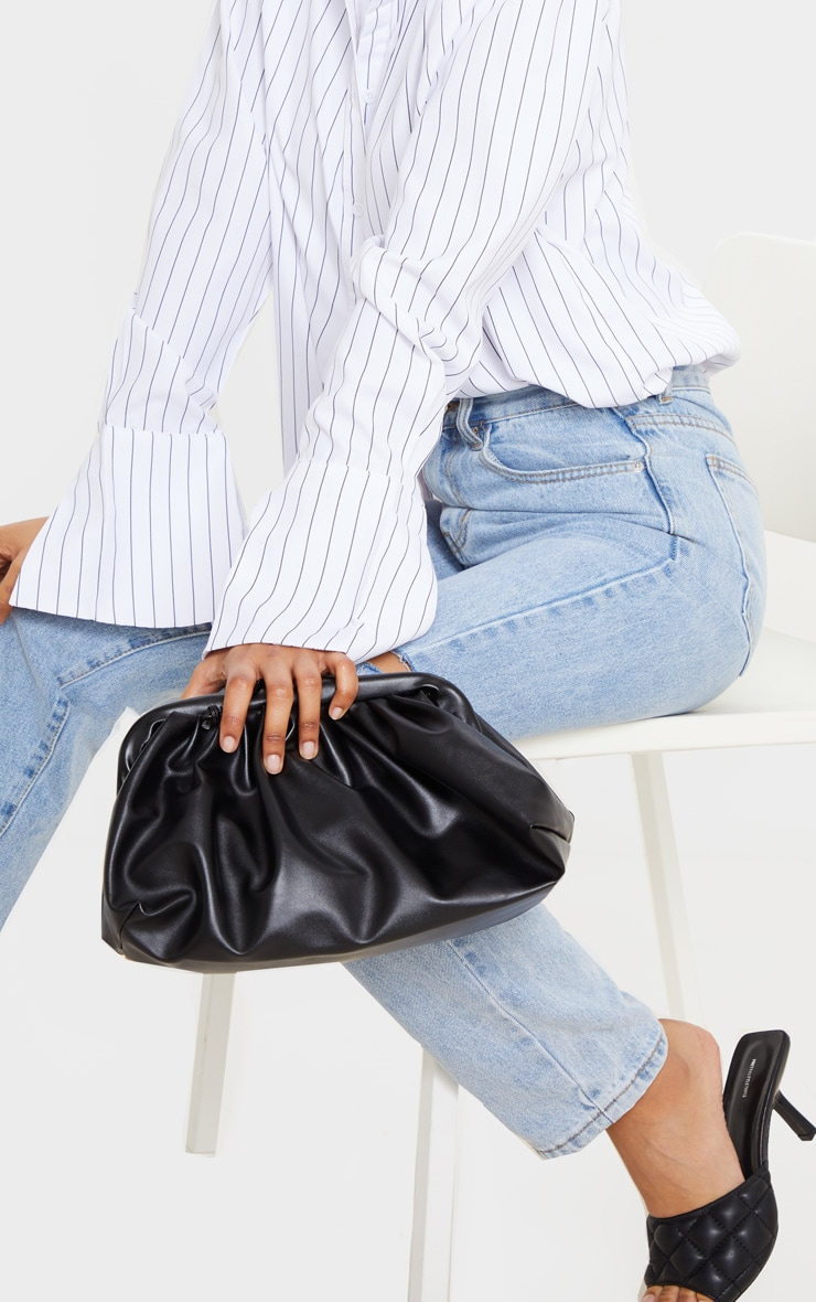 Black PU Ruched Oversized Clutch Bag image 2