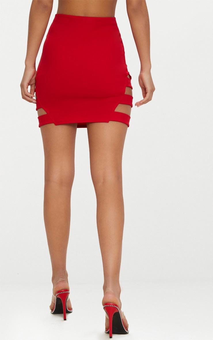 Red Crepe Ladder Mini Skirt 4