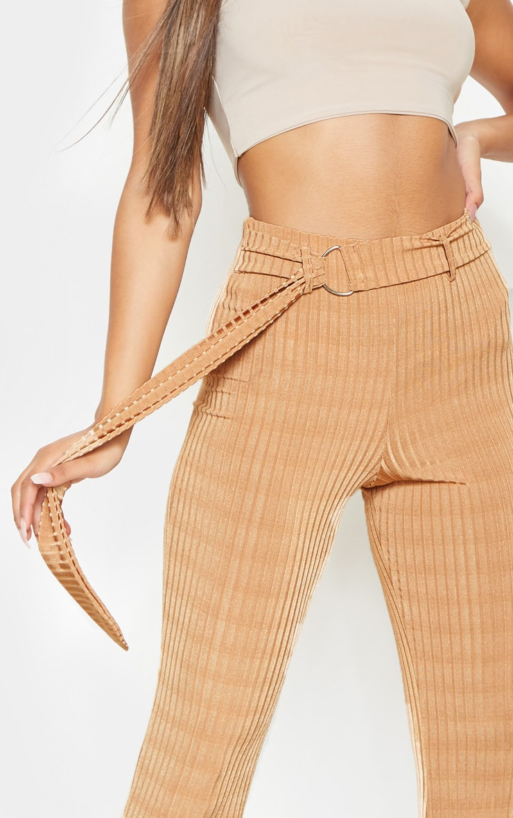 Tobacco Rib D Ring Belted Flare Leg Pant 5