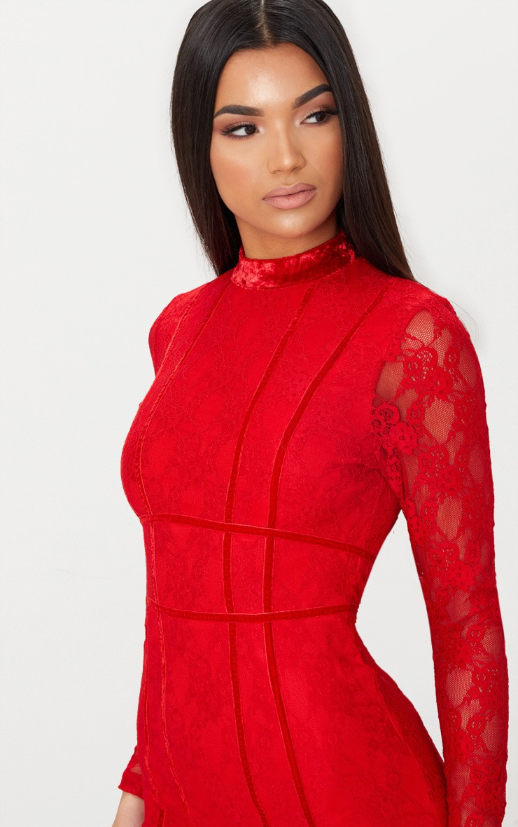 Red Lace Piping Detail Bodycon Dress 5