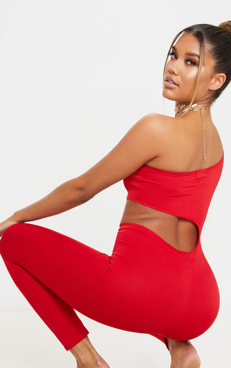 Red Long Sleeve Cut Out Jumpsuit 3