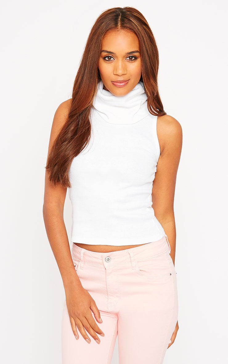 Melina White Ribbed Turtle Neck Top 1