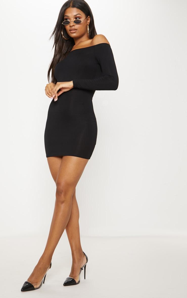 Basic robe moulante bardot noire 4