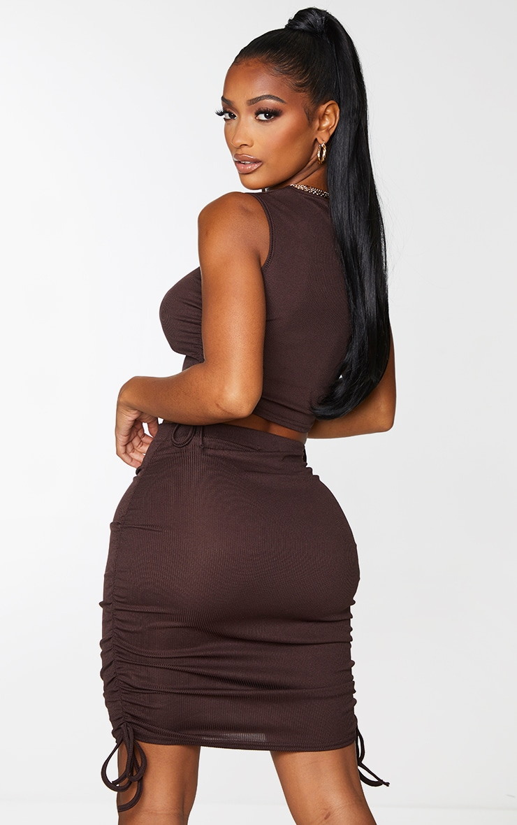 Shape Chocolate Brown Rib Ruched Side Crop Top 2