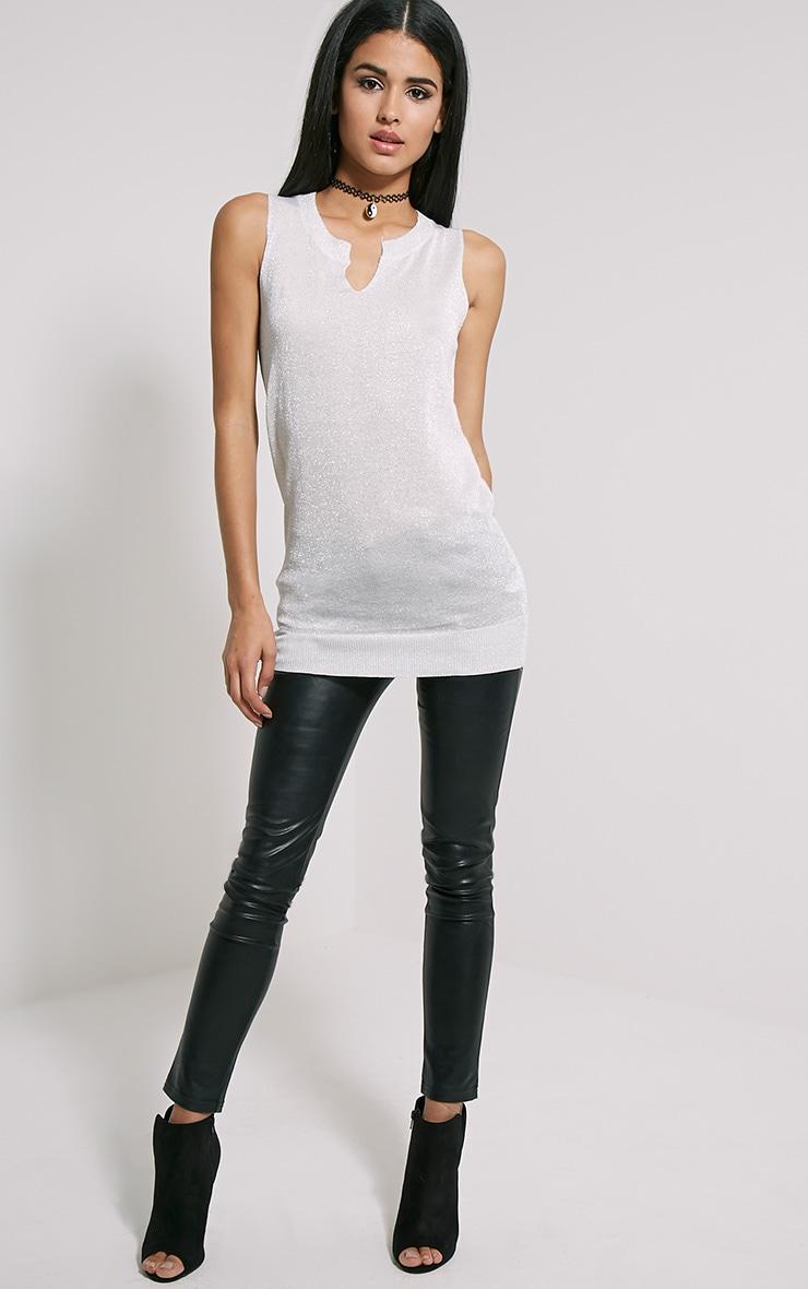 Ceara Grey Sleeveless Metalic Knitted Vest 3