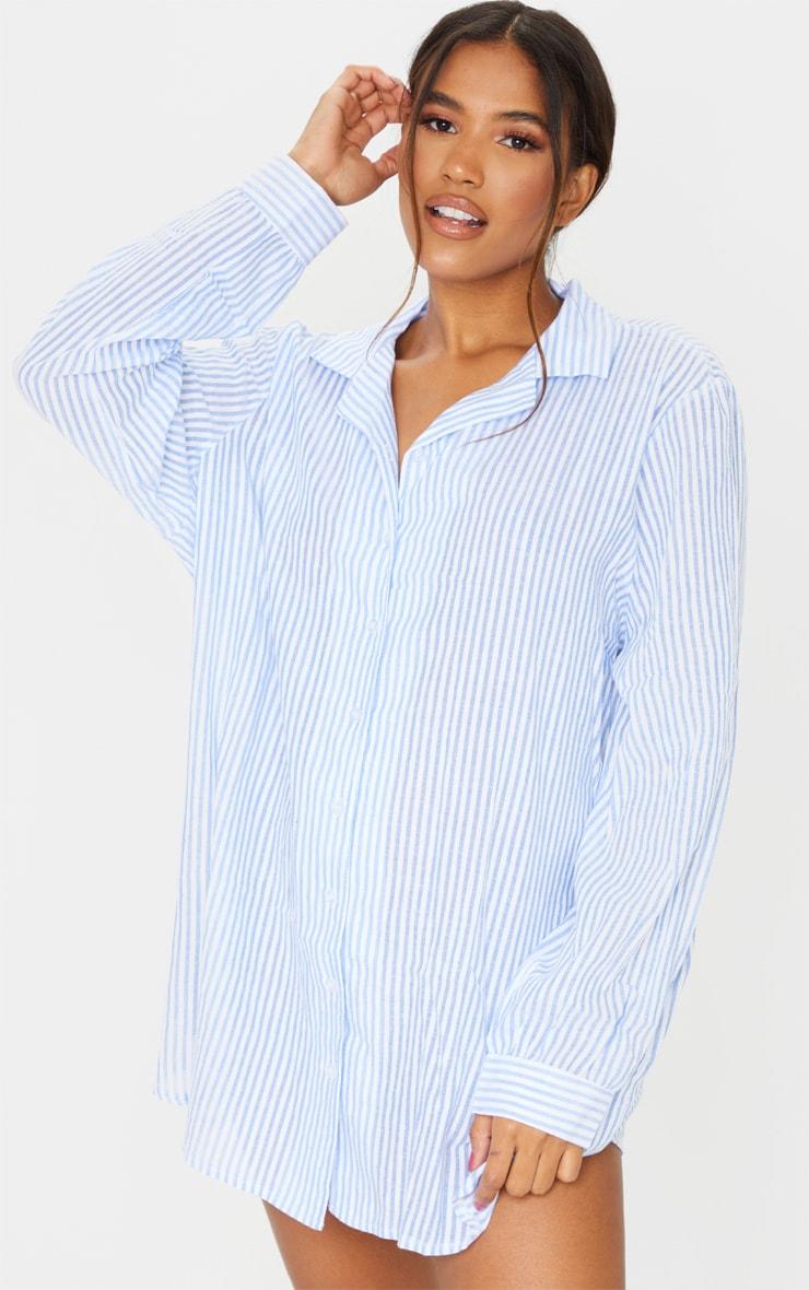 Blue Striped Open Collar Cotton Oversized Nightshirt With Scrunchie 3