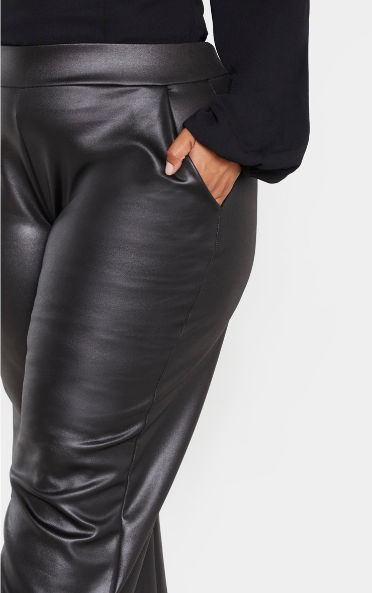 Plus Black PU Wide Leg Trouser 5